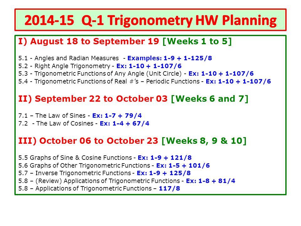 2014-15 Q-1 Trigonometry HW Planning