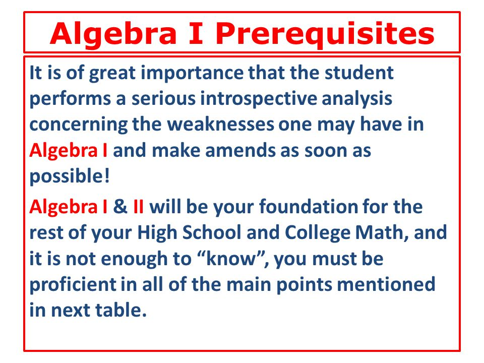 Algebra I Prerequisites