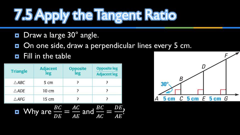 7.5 Apply the Tangent Ratio