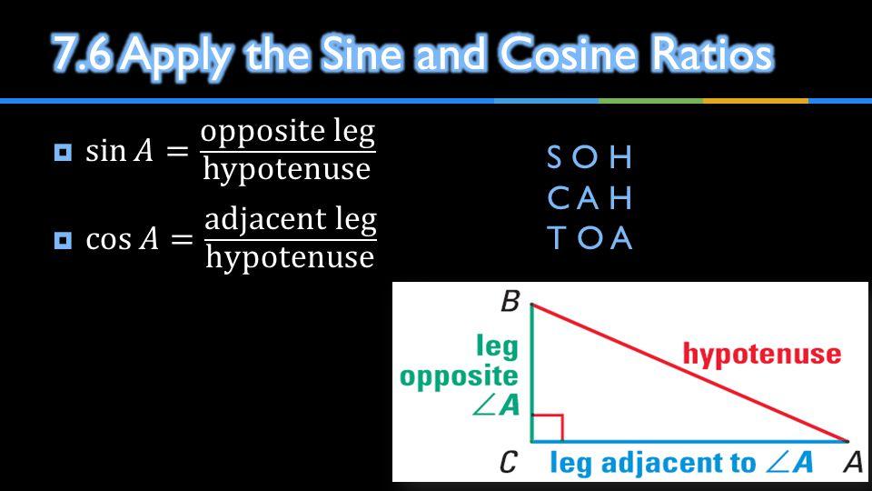 7.6 Apply the Sine and Cosine Ratios