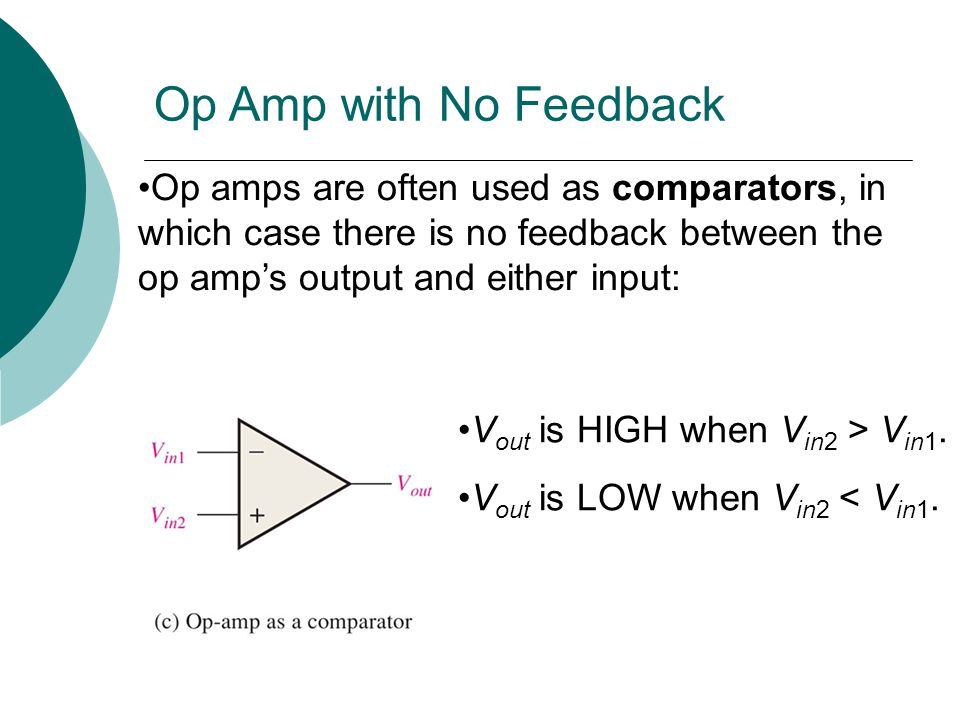 Op Amp with No Feedback Op amps are often used as comparators, in which case there is no feedback between the op amp's output and either input: