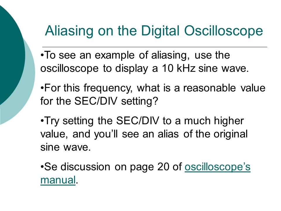 Aliasing on the Digital Oscilloscope