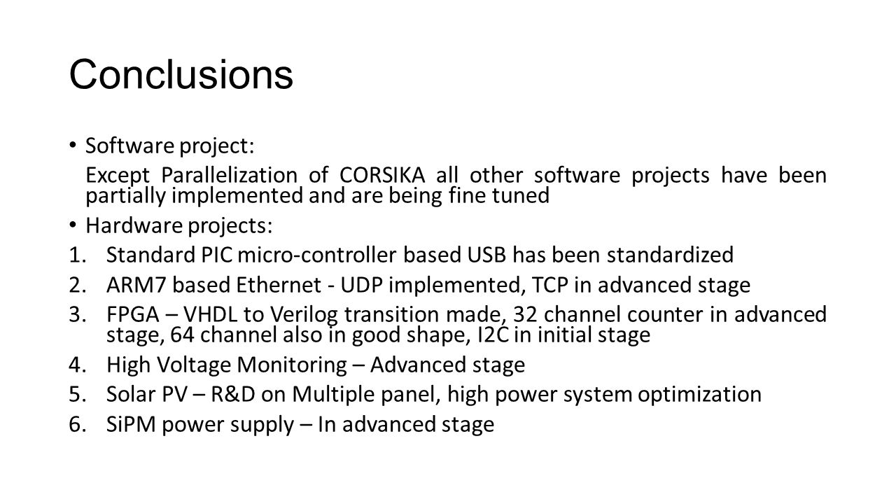 Conclusions Software project: