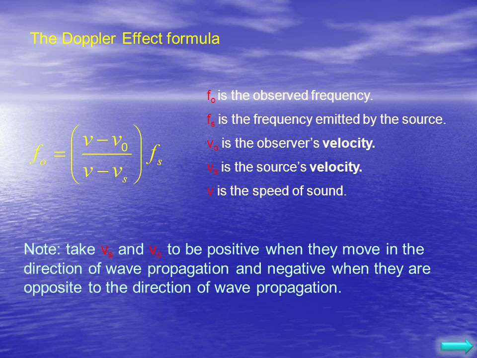 The Doppler Effect formula