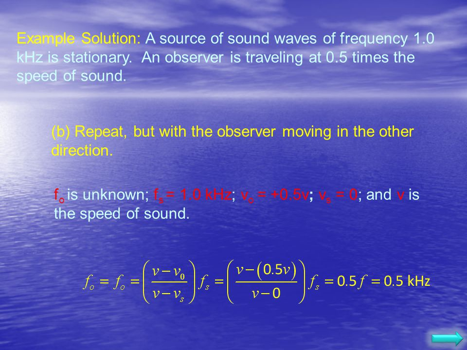 Example Solution: A source of sound waves of frequency 1