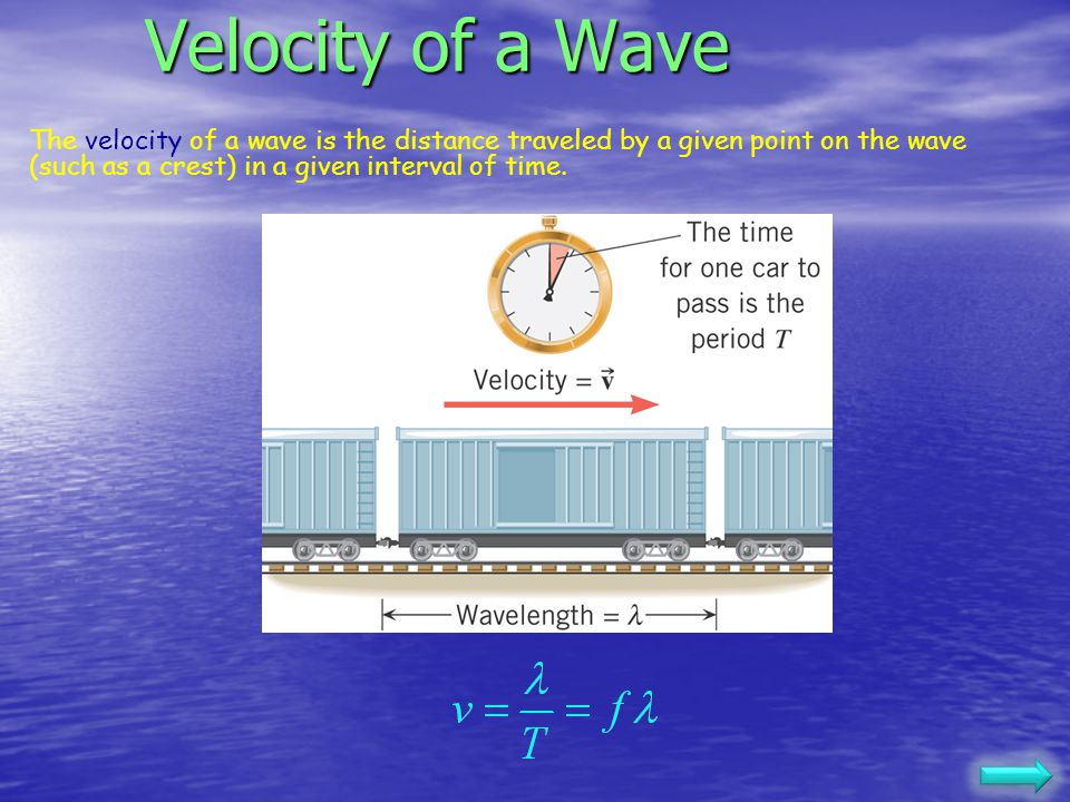 Velocity of a Wave The velocity of a wave is the distance traveled by a given point on the wave (such as a crest) in a given interval of time.