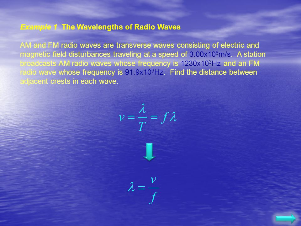 Example 1 The Wavelengths of Radio Waves