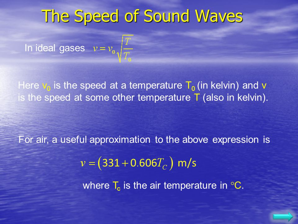 The Speed of Sound Waves