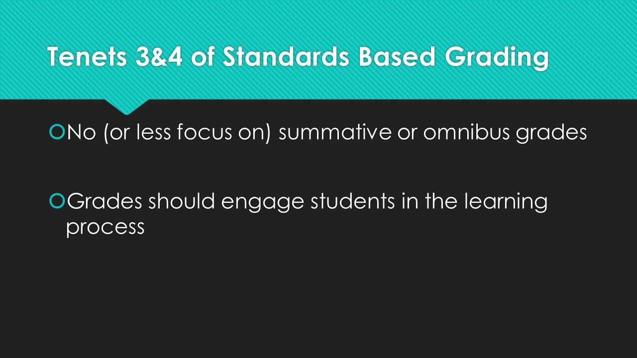 Tenets 3&4 of Standards Based Grading