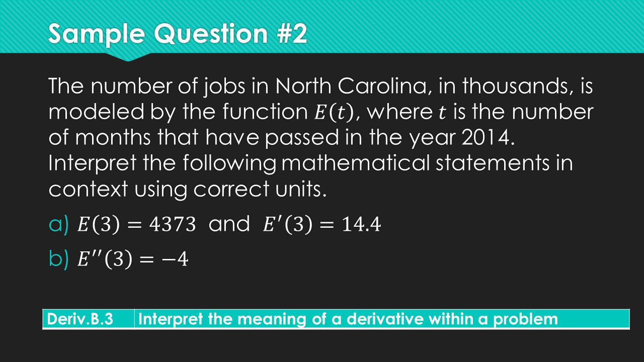 Sample Question #2