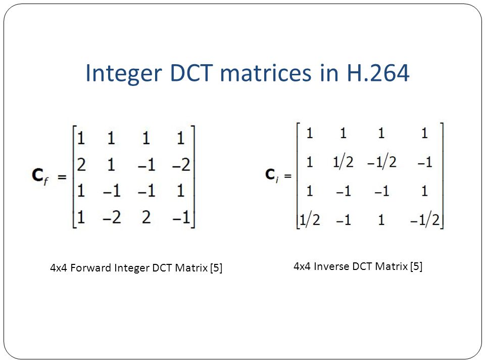 Integer DCT matrices in H.264