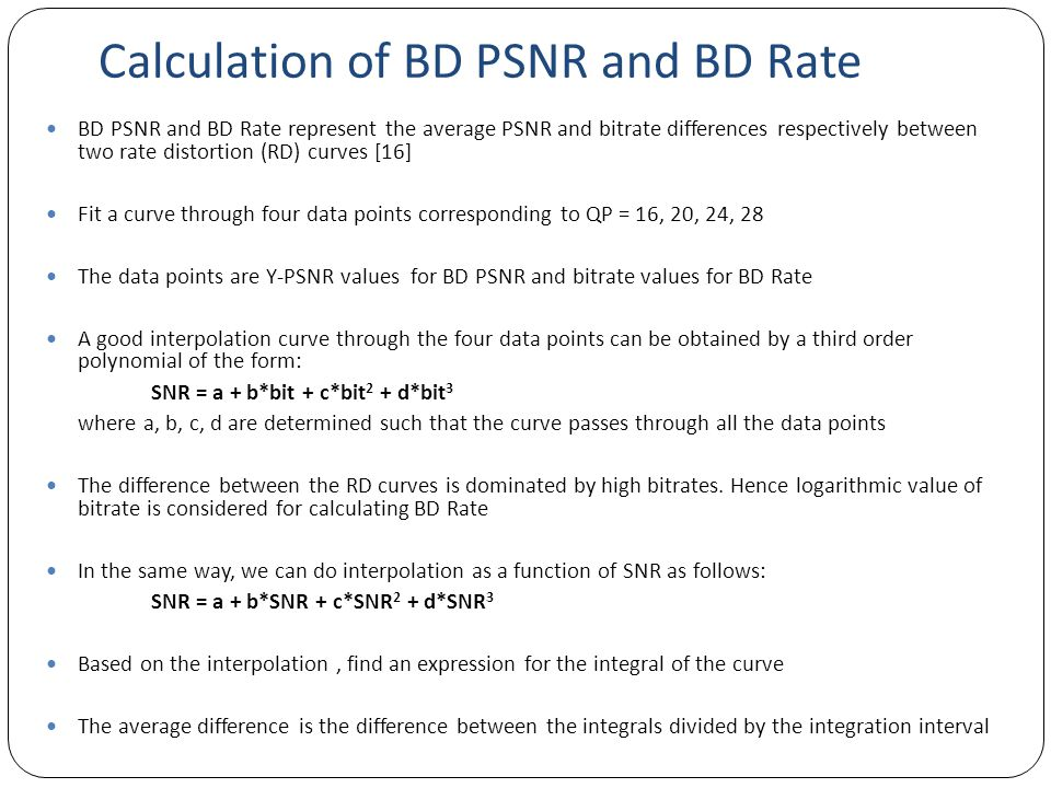 Calculation of BD PSNR and BD Rate