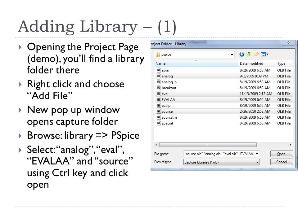 Adding Library – (1) Opening the Project Page (demo), you'll find a library folder there. Right click and choose Add File