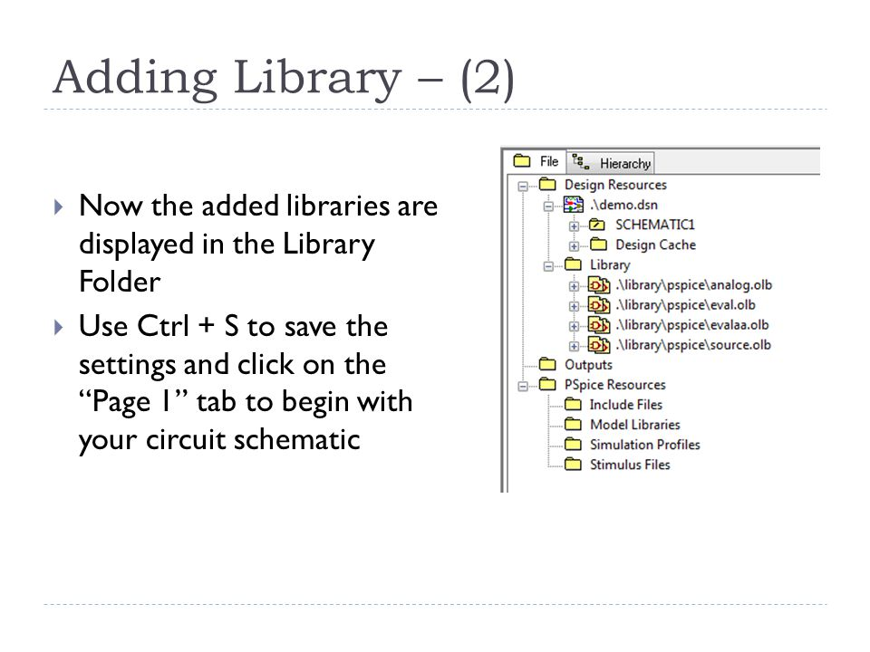 Adding Library – (2) Now the added libraries are displayed in the Library Folder.