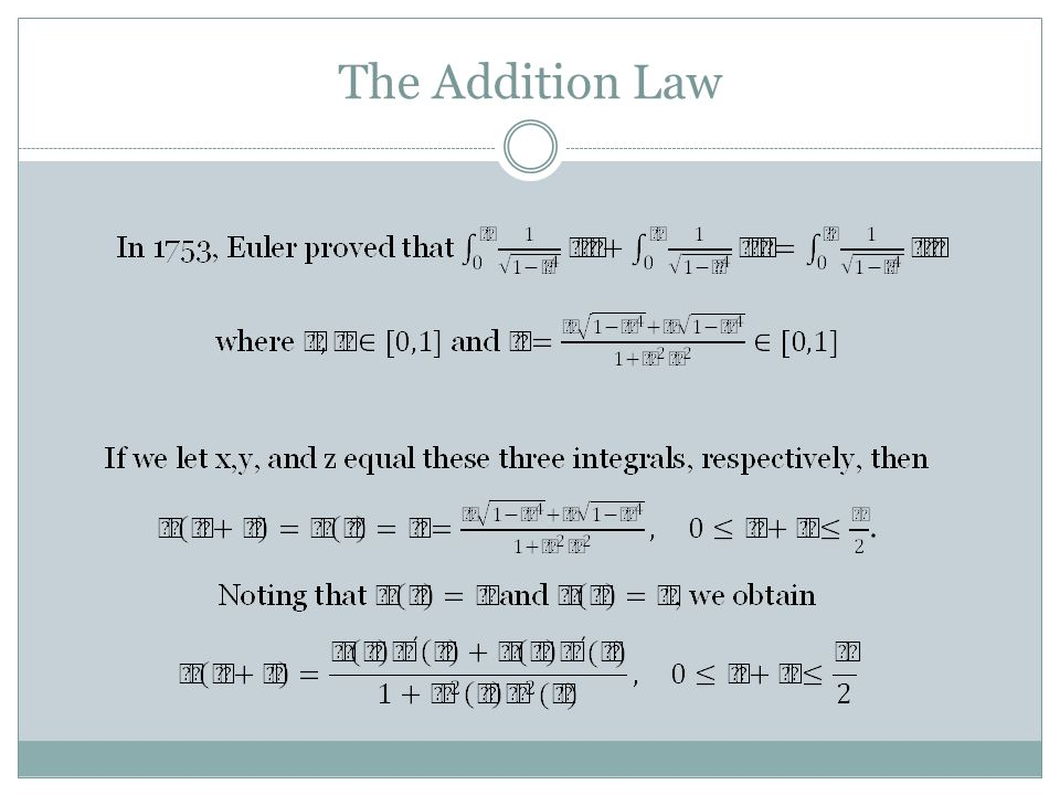 The Addition Law