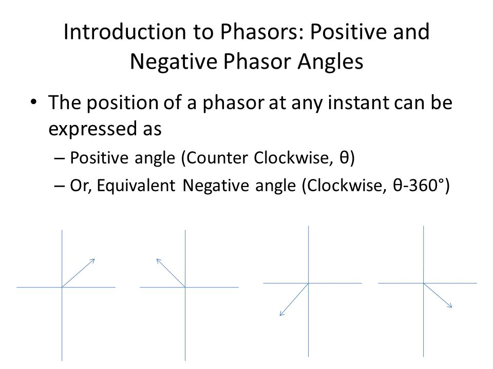 Introduction to Phasors: Positive and Negative Phasor Angles