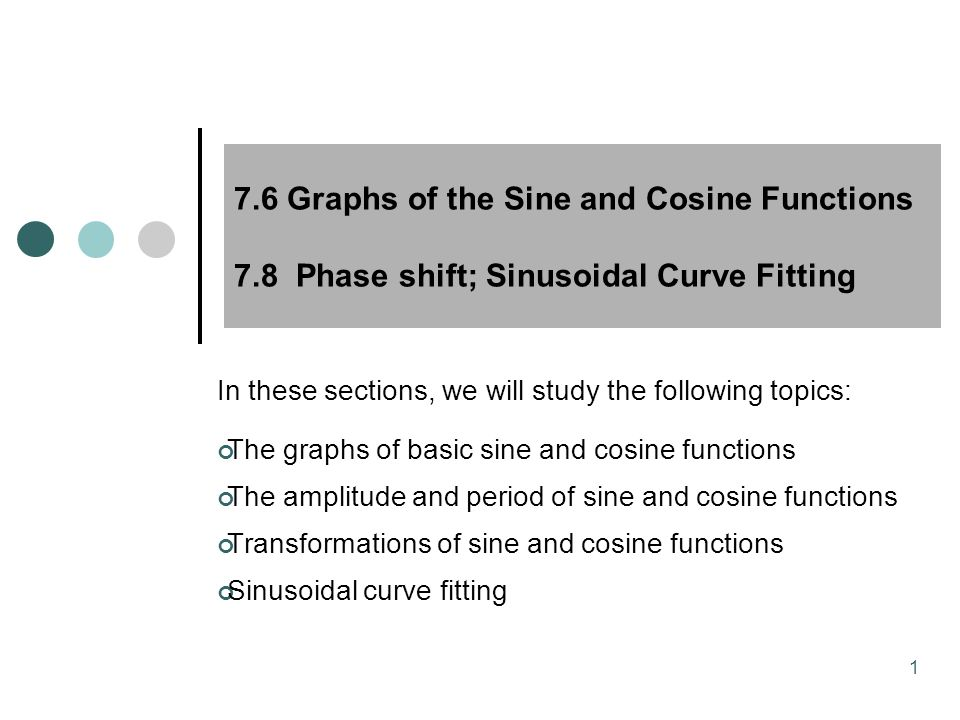 MAT 204 SP09 7.6 Graphs of the Sine and Cosine Functions 7.8 Phase shift; Sinusoidal Curve Fitting.