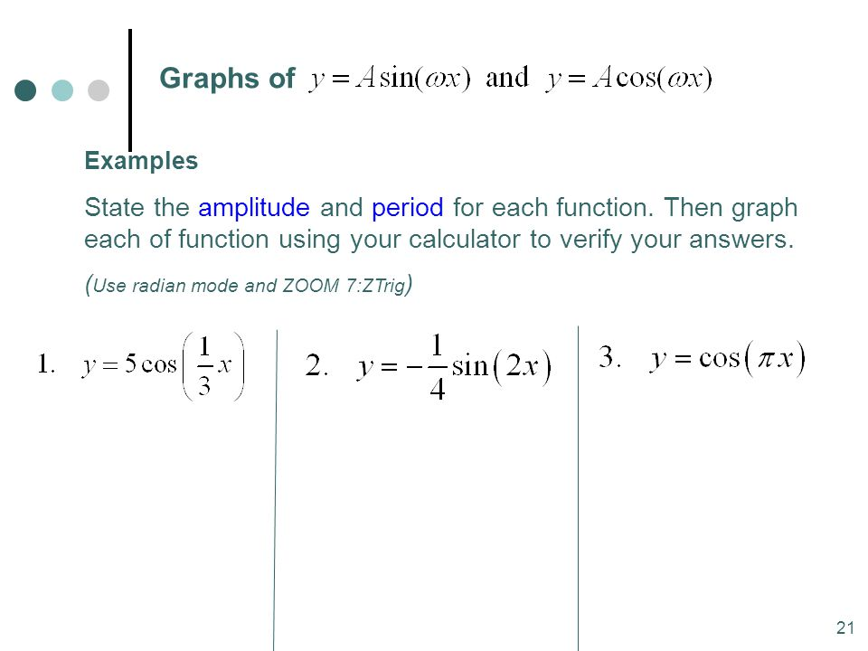 MAT 204 SP09 Graphs of. Examples.