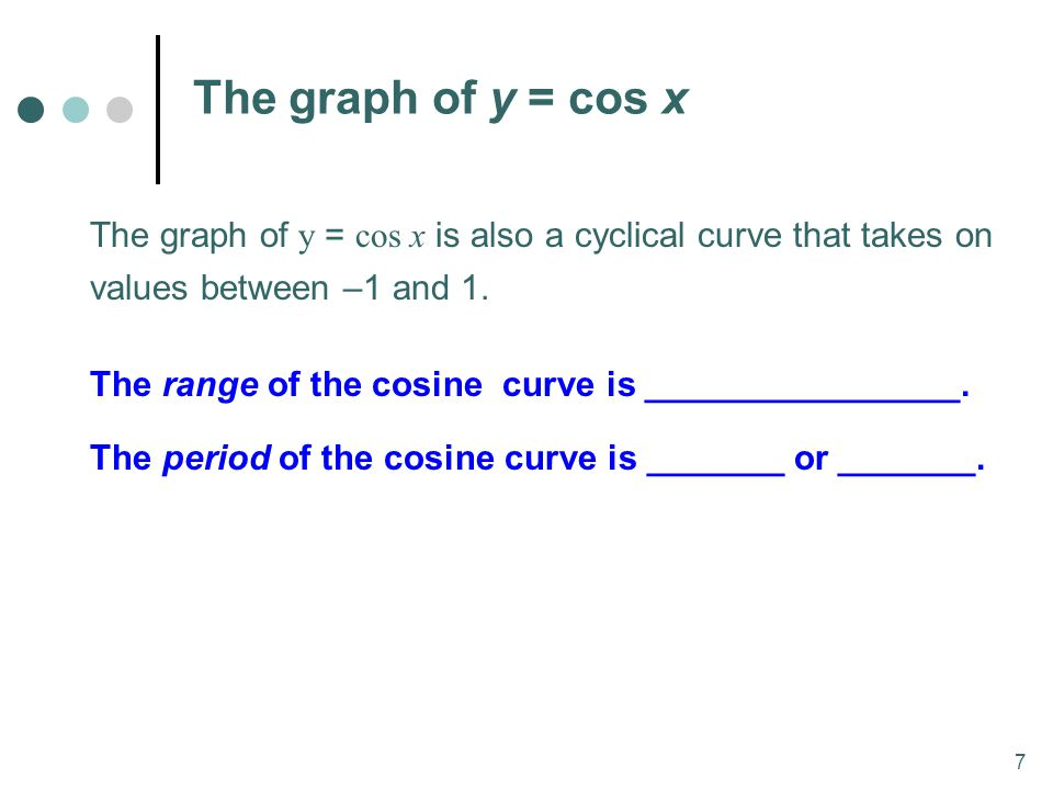 MAT 204 SP09 The graph of y = cos x.