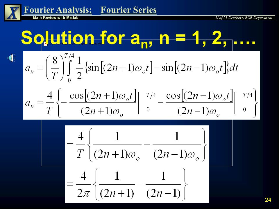 Solution for an, n = 1, 2, ….