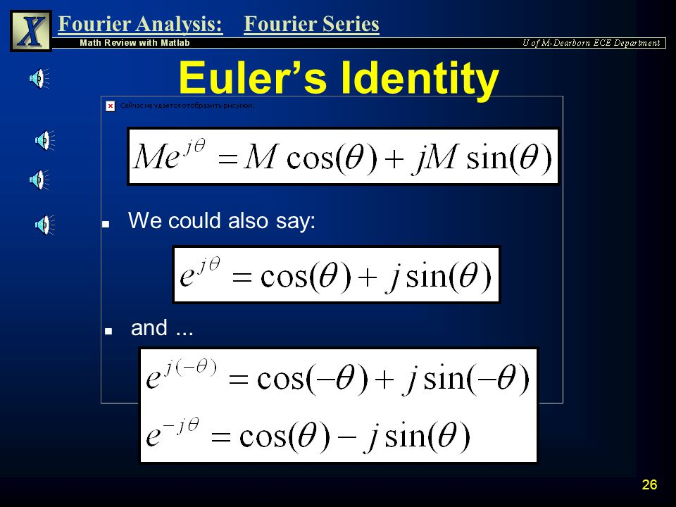 Euler's Identity We could also say: and ...