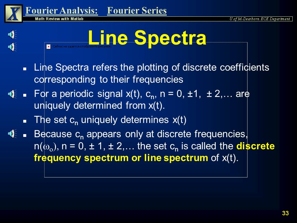 Line Spectra Line Spectra refers the plotting of discrete coefficients corresponding to their frequencies.