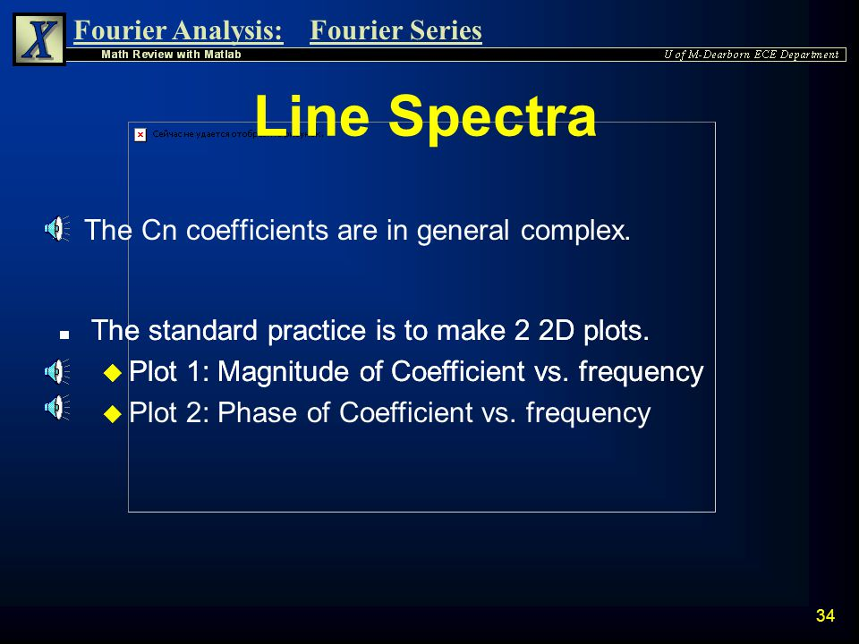 Line Spectra The Cn coefficients are in general complex.