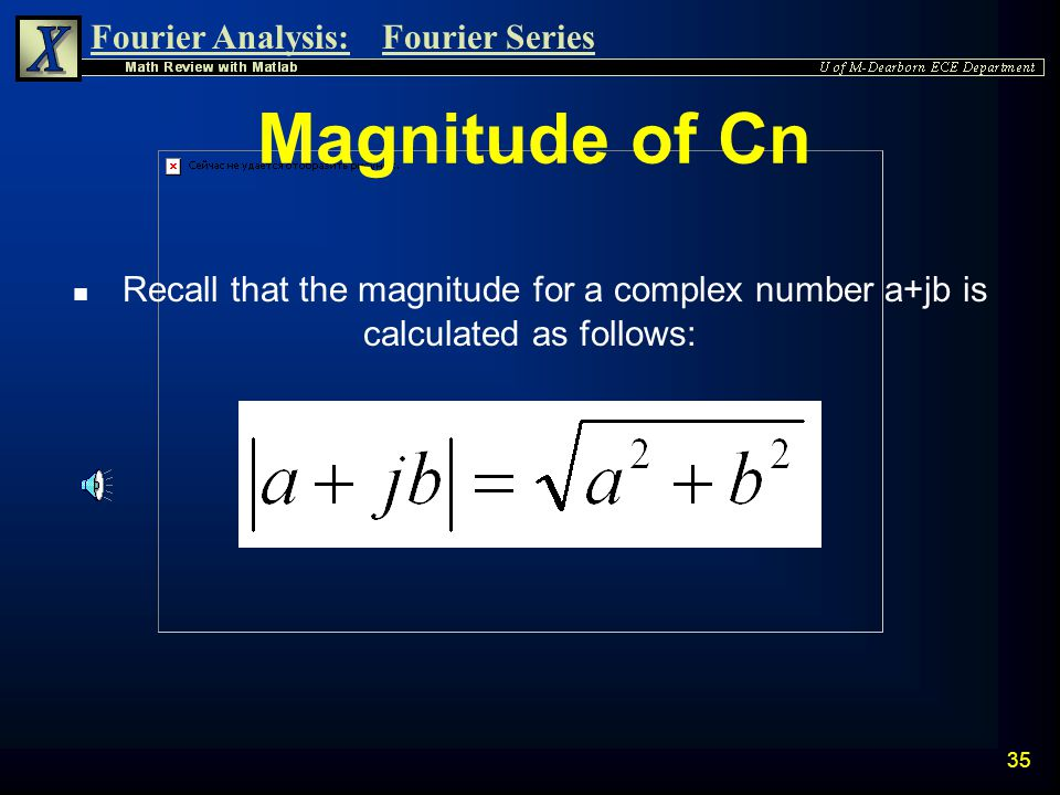 Magnitude of Cn Recall that the magnitude for a complex number a+jb is calculated as follows:
