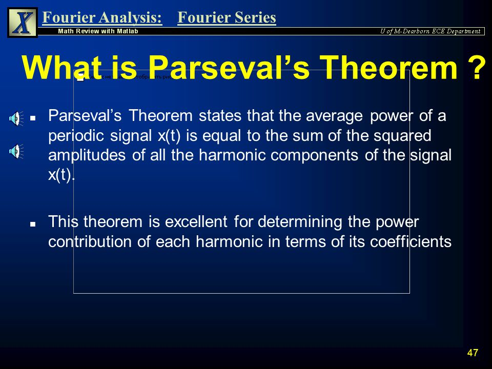What is Parseval's Theorem