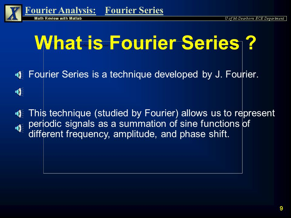 What is Fourier Series Fourier Series is a technique developed by J. Fourier.
