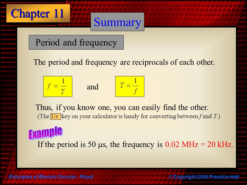 Summary Summary Period and frequency