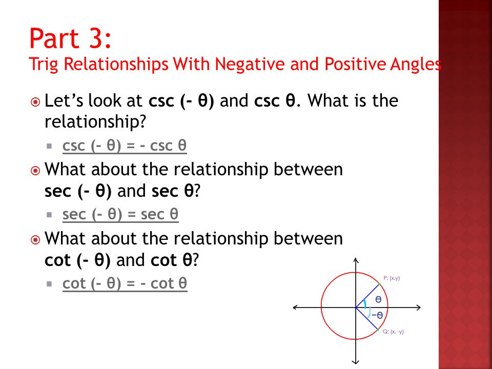 Part 3: Trig Relationships With Negative and Positive Angles