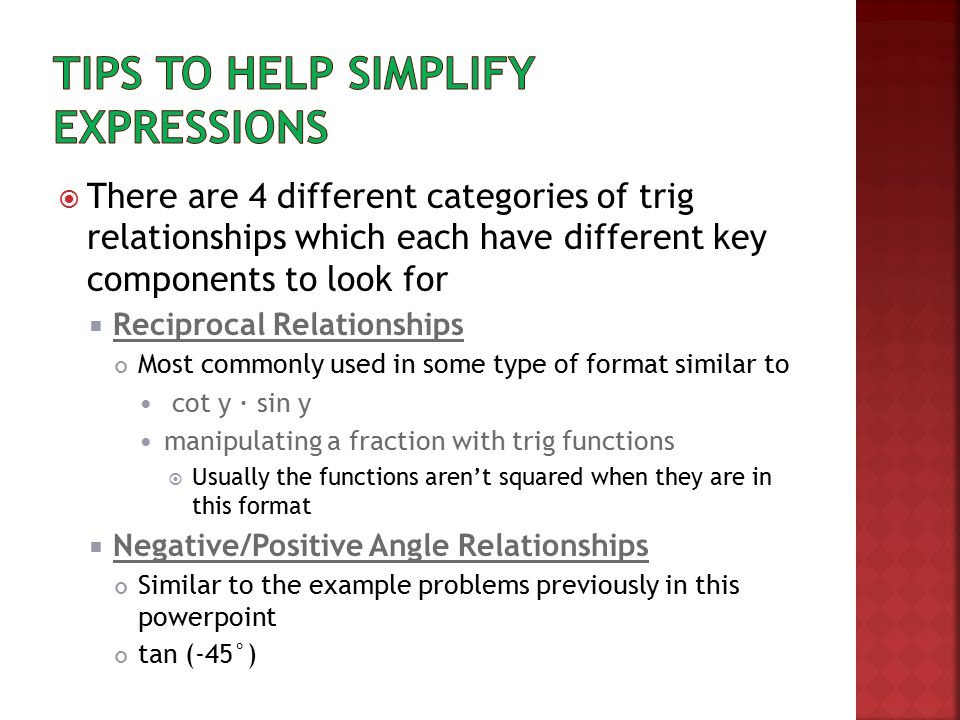 Tips to help simplify expressions