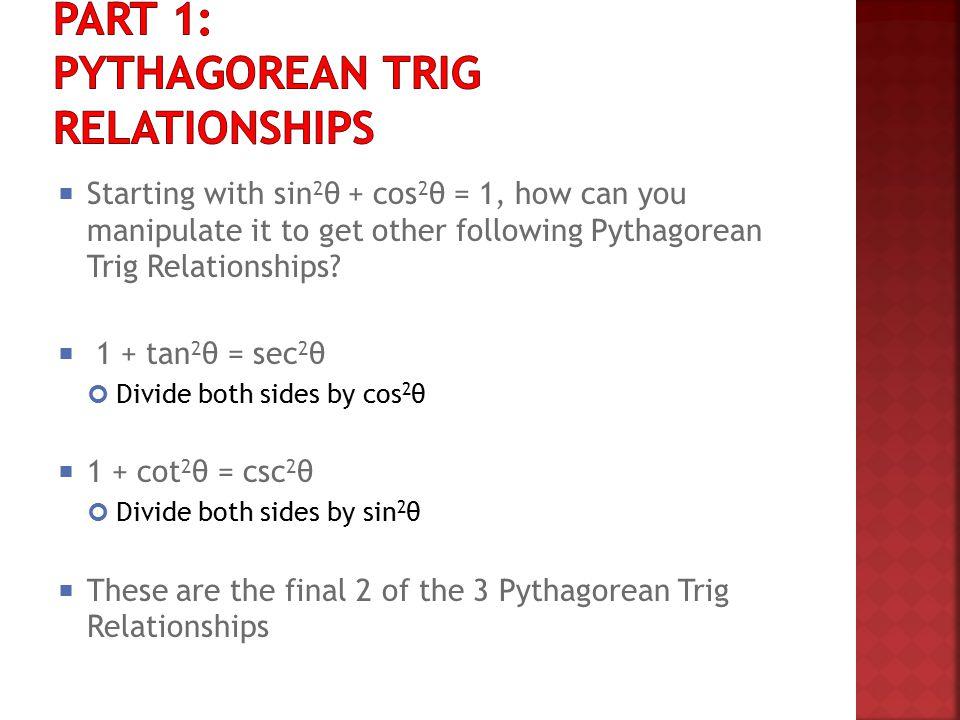 Part 1: Pythagorean Trig Relationships