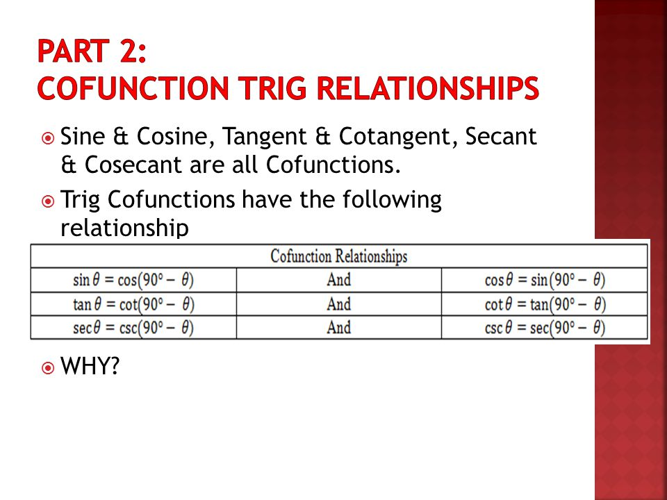 Part 2: Cofunction Trig Relationships