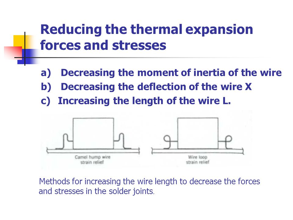 Reducing the thermal expansion forces and stresses