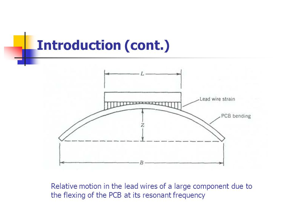 Introduction (cont.) Relative motion in the lead wires of a large component due to.