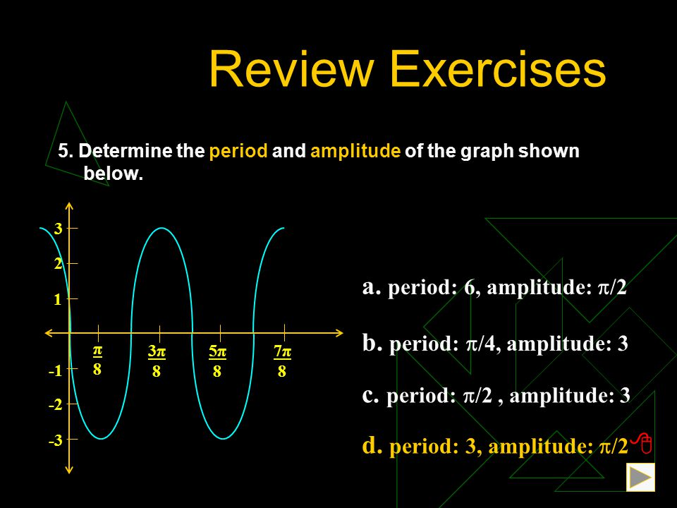 Review Exercises a. period: 6, amplitude: /2