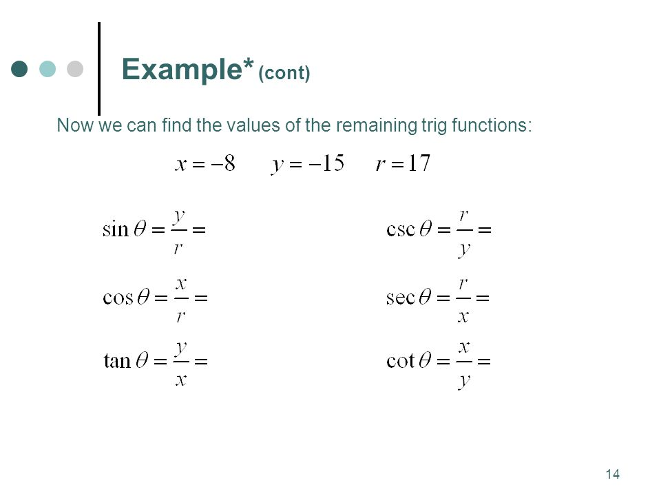 Example* (cont) Now we can find the values of the remaining trig functions: