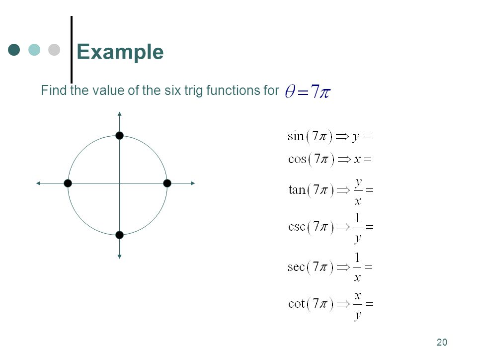 MAT 204 SP09 Example Find the value of the six trig functions for
