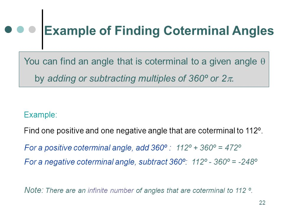Example of Finding Coterminal Angles