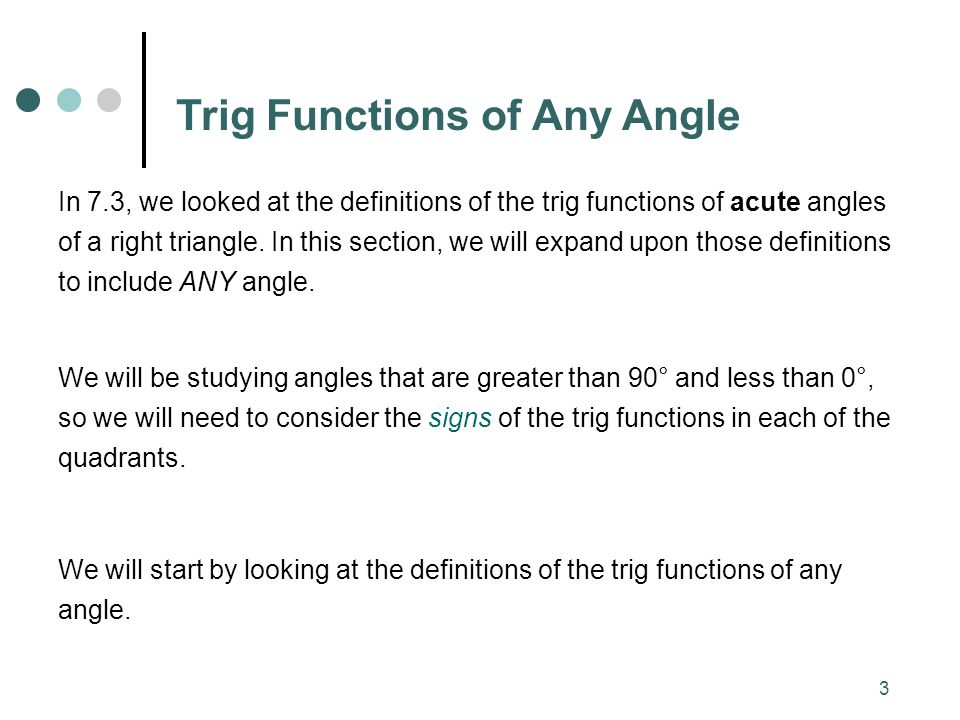 Trig Functions of Any Angle