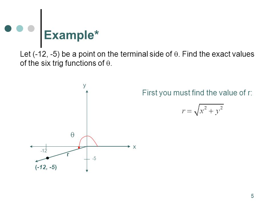 Example* Let (-12, -5) be a point on the terminal side of . Find the exact values of the six trig functions of .