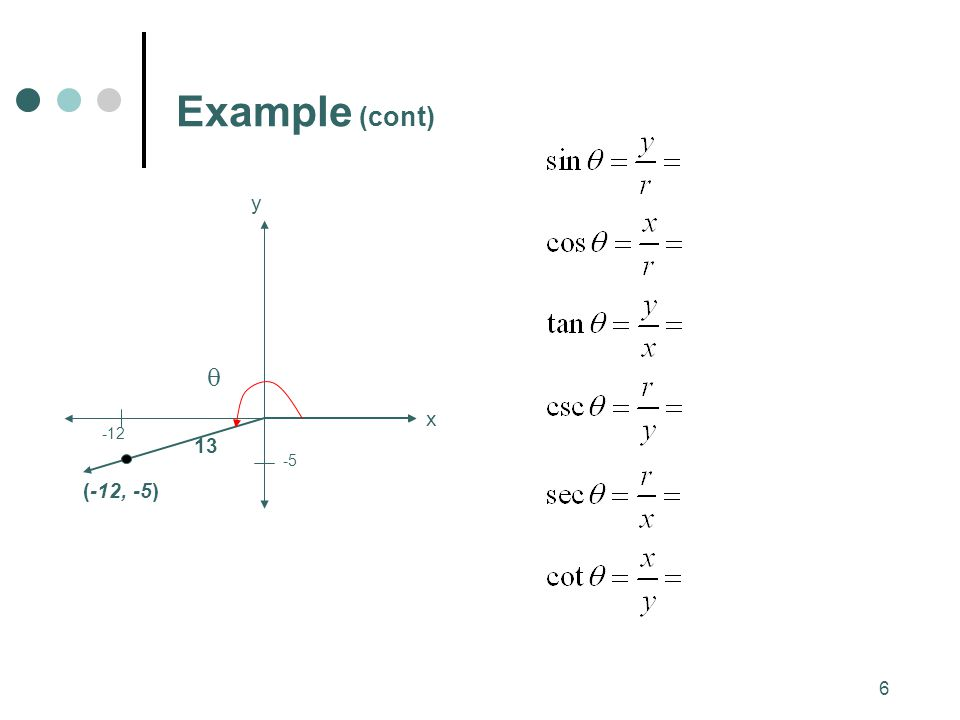 Example (cont) 13 -5 y x  (-12, -5) -12