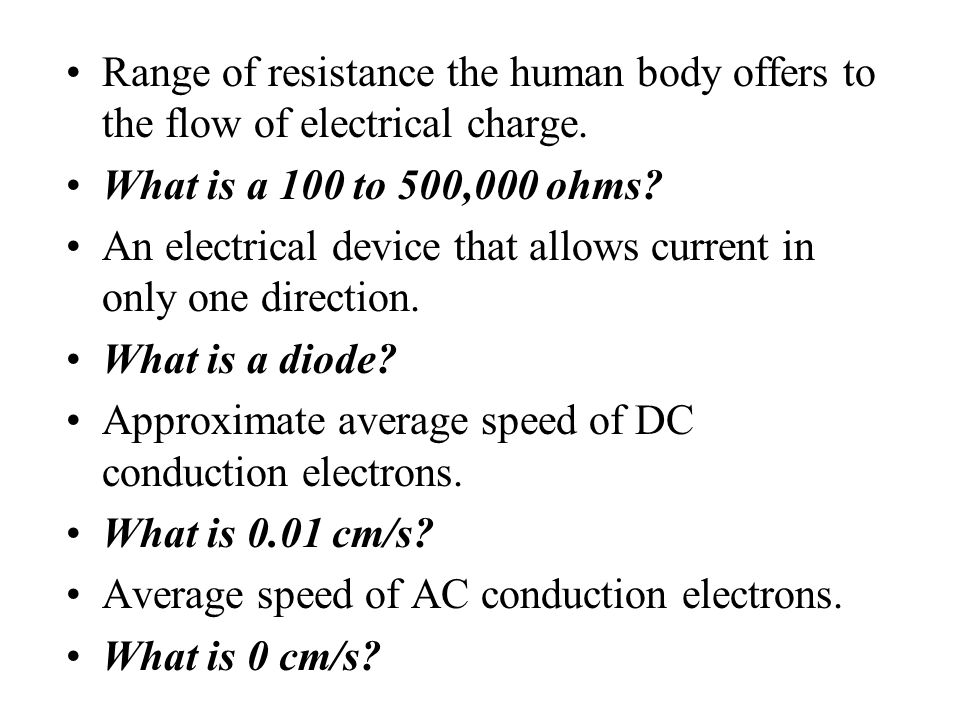 Range of resistance the human body offers to the flow of electrical charge.