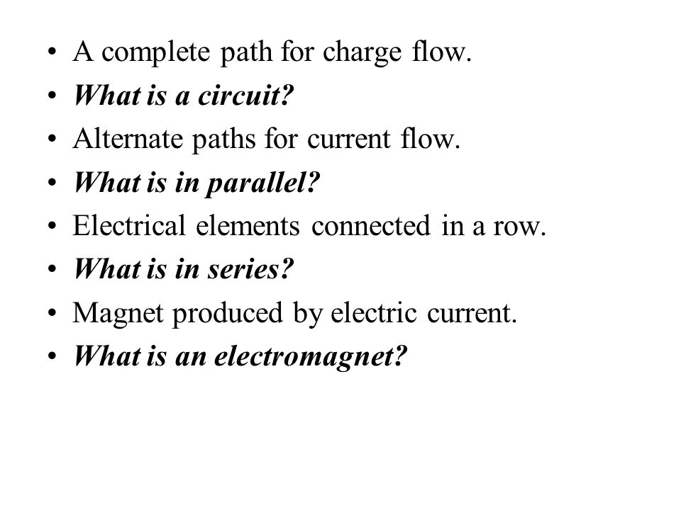 A complete path for charge flow.