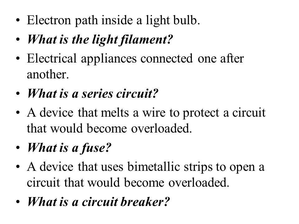 Electron path inside a light bulb.