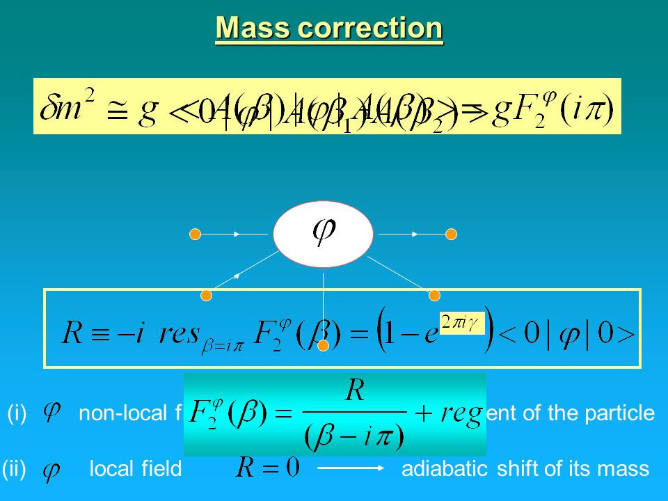 Mass correction (i) non-local field confinement of the particle (ii)