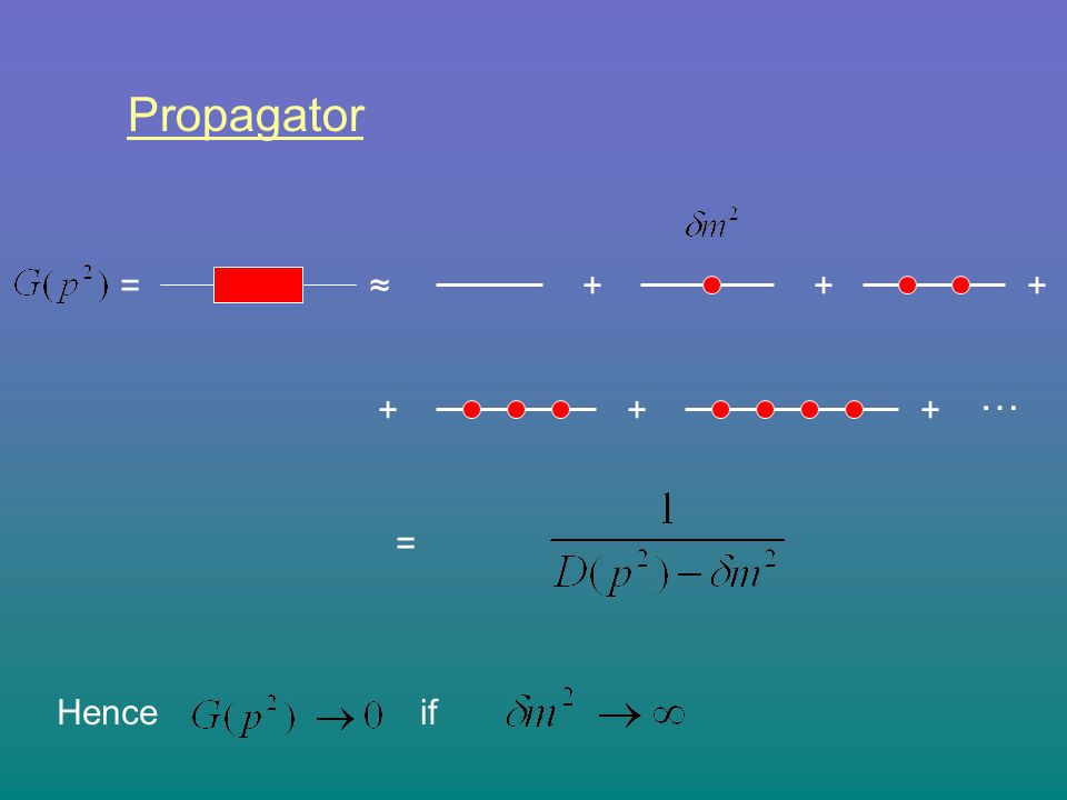 Propagator = ≈ + + + … + + + = if Hence
