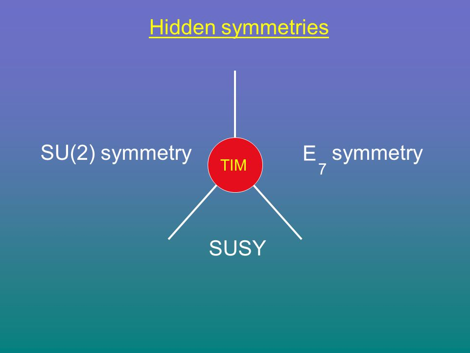 Hidden symmetries TIM SU(2) symmetry E 7 symmetry SUSY